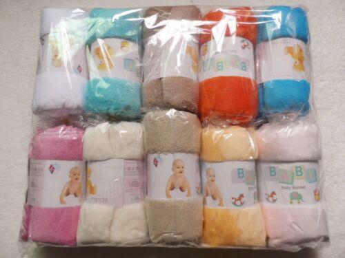 100*70cm joblot 50 Baby Fleece Blanket Shawl Pram Crib Moses Basket Buggy Wrap