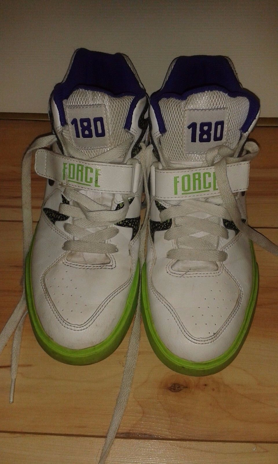 Mens Hi Top Trainers - Nike Auto Force 180 - White & Electric Green -