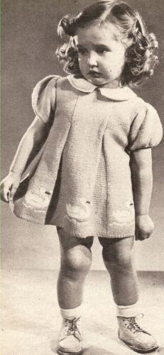 Vintage Knitting PATTERN Baby Toddler Dress 18mos-2 yrs