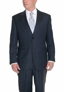 Mens-44L-Navy-Blue-Textured-Two-Button-Wool-Suit-With-Pleated-Pants