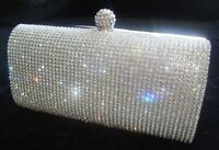 New Silver Diamante Diamond Crystal Evening bag Clutch Purse Party Prom Wedding.
