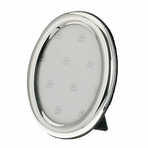 versilberter ovaler Fotorahmen glatt poliert 10x15 cm