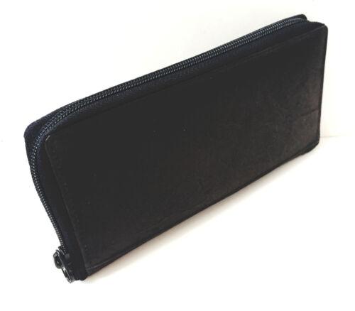Black Genuine Leather Checkbook Cover Zip Around Clutch Wallet Unisex