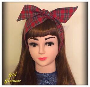 Royal-Stewart-Red-Tartan-Headband-Bandana-Headscarf-Bow-Scottish-Skirt-Dress