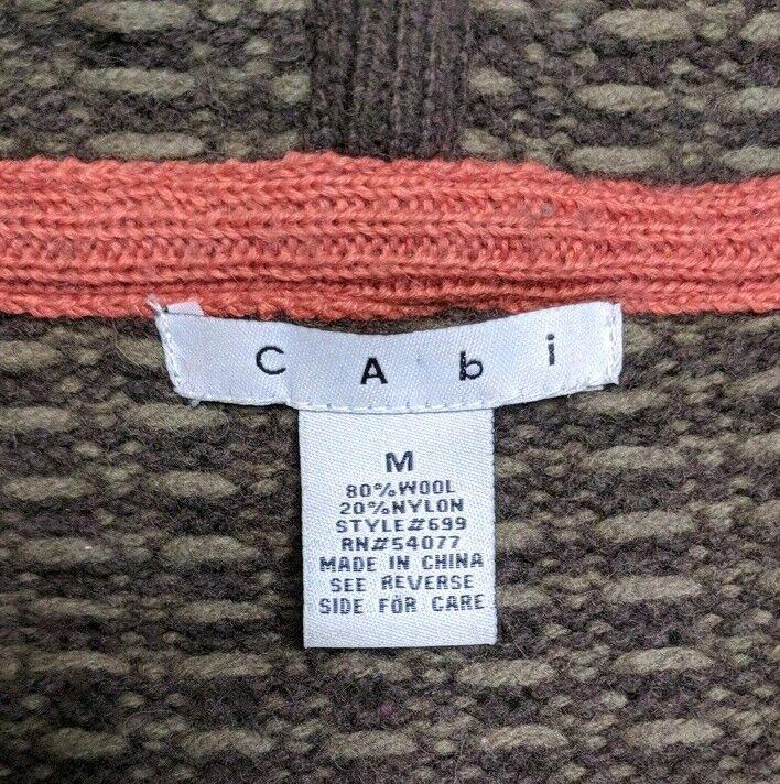 CAbi knit embroidery sweater zip up flowers flowers flowers green orange Medium hooded 8dfdb7