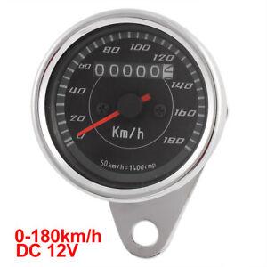 Universal 0-180km/h Motorcycle Tachometer Speedometer Tacho Gauge DC 12V