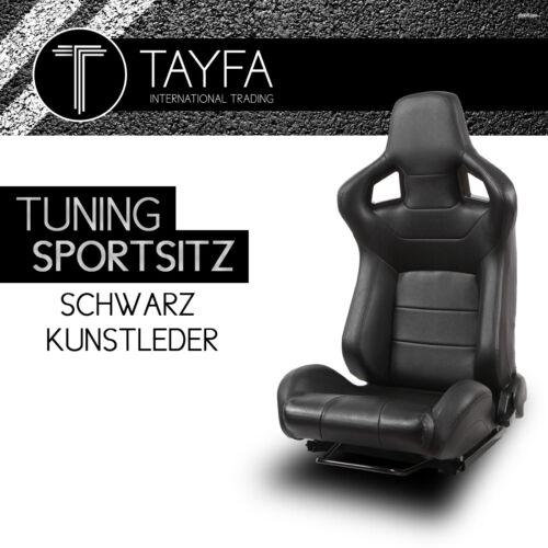 1x Autosportsitz Sportsitz Racingseat schwarz Kunstleder Schalensitz Sportseats