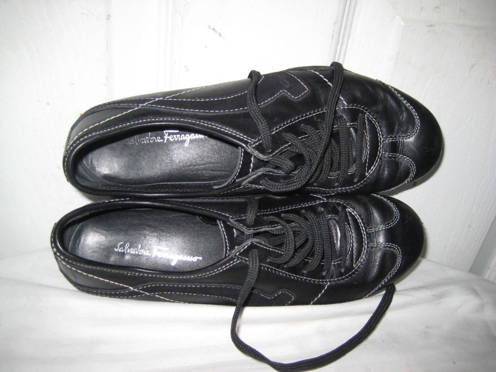 Salvatore Ferragamo Ferragamo Ferragamo Black Leather Lace Up Sneakers shoes Women s Size 5.5 B. 32a416