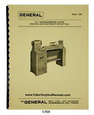General Model 260 Wood Lathe 12 Op Maintenance Amp Parts List Manual 1759