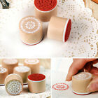 1x Cute Round Wooden Assorted Floral Patterns Stamping Rubber Stamps Scrapbook