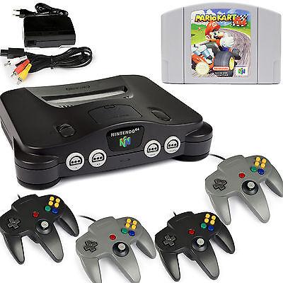 N64 / Nintendo 64 - Konsole + 4 Controller Grau / Black + Super Mario Kart 64