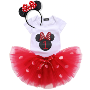 Baby Girl Minnie Mouse Set 1st One 1 Year First Birthday Dress Tutu Infant