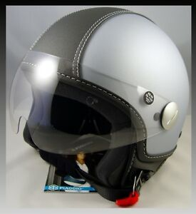 copter piaggio  XS Vespa Piaggio Scooter Light Gray Copter Helmet Black Leather DOT ...