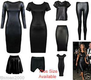 NEW-CAP-LONG-SLEEVE-NICOLE-PLUS-SIZE-PVC-WET-LOOK-MIDI-DRESS-SKIRT-TOP-LEGGINGS