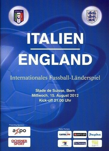 2012 ITALY v ENGLAND PLAYED IN SWITZERLAND