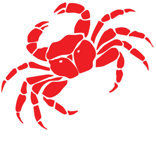 that is glossy red. A crab decal or vinyl cut sticker