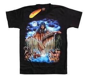 Gr.S,M,L,XL,Wolf Native Indianer Häuptling T-Shirt türkis blau Indianerin Wölfe