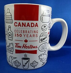 Tim-Hortons-Mug-CANADA-150-Years-Ceramic-Cup-LIMITED-Edition-2017-RED-WHITE-NOS
