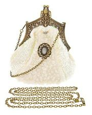 NEW Bridal Vintage Victorian Look White Beaded Evening Purse / Bag