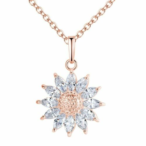 Women Rose Gold Plated Heart Shape Cross Crystal CZ Pendant Necklace Jewelry Hot