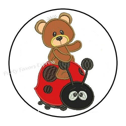 """30 TEDDY BEAR RIDING LADYBUG BABY SHOWER ENVELOPE SEALS LABELS STICKERS 1.5/"""""""