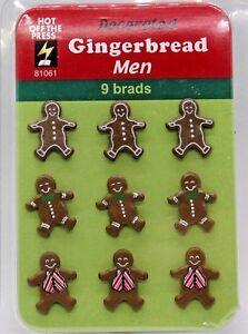 Hot Off The Press Christmas Gingerbread Men Cookie Scrapbook Brads