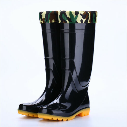 Men/'s Rubber Rain Boots Knee-High Outdoor Anti-Skid Waterproof Work Shoes Safety