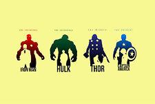 A4 Poster – Avengers Iron Man Hulk Thor Captain America (Picture Print Minimal)