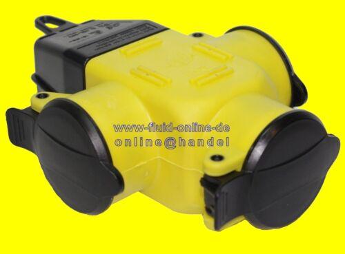 NEU 3 fach SCHUKO Verteiler Kupplung GELB robuste Ausführung aus Gummi IP44