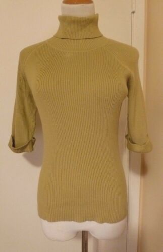4-6 NWT PIERRE CARDIN WILLOW GREEN 1//2 Sleeve Knit Turtleneck Sweater Size S