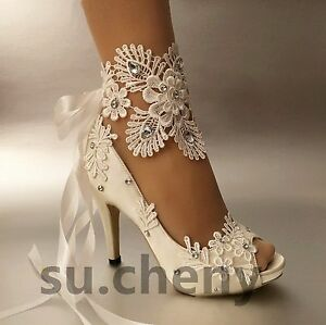 wedding shoes size 11 3 quot 4 heel white ivory satin lace ribbon open toe wedding 1133