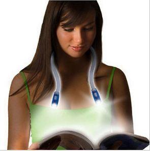 Hands-Free Flexible Reading Neck Huglight LED Light Lamp Flashlight(Green)