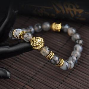 Vogue-Men-039-s-Gift-Black-Lava-Stone-Gold-Lion-Buddha-Beaded-Bracelet-Handmade