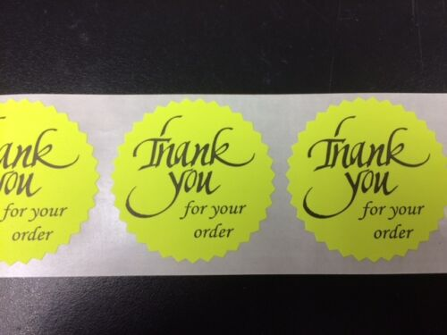"""25 THANK YOU FOR YOUR ORDER 2/"""" STICKER Starburst YELLOW NEON NEW THANK YOU NEW"""