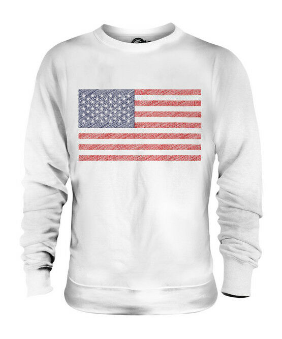 USA SCRIBBLE FLAG UNISEX SWEATER  TOP GIFT UNITED STATES AMERICA