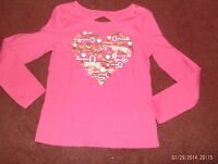 Justice -- Girls Size 20 Deep Pink -- 3d Key Heart Print Top----nwt
