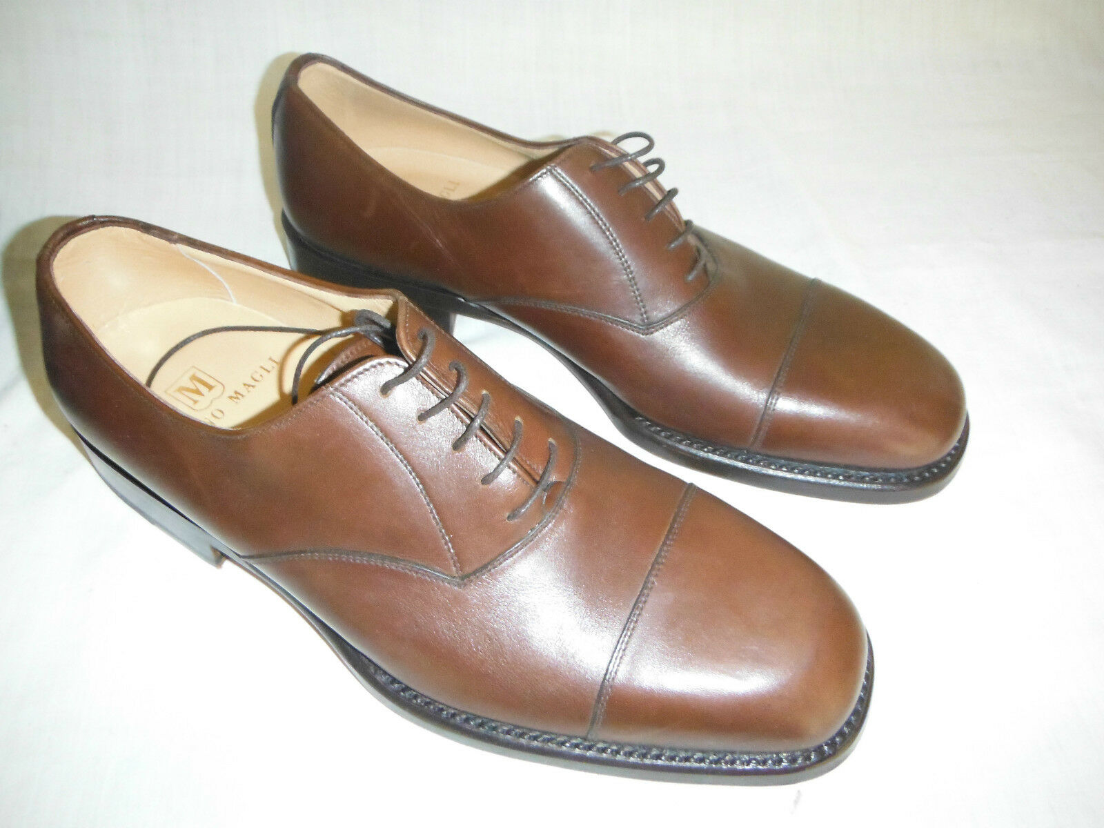 Mens 7.5 size 8.5 europe Bruno Magli brown leather shoes   STILL IN BOX