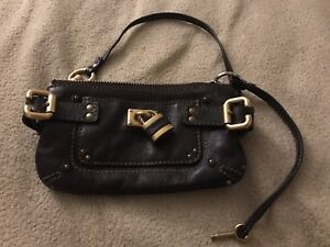 Authentic-Chloe-brown-lock-small-wristlet-clutch-bag
