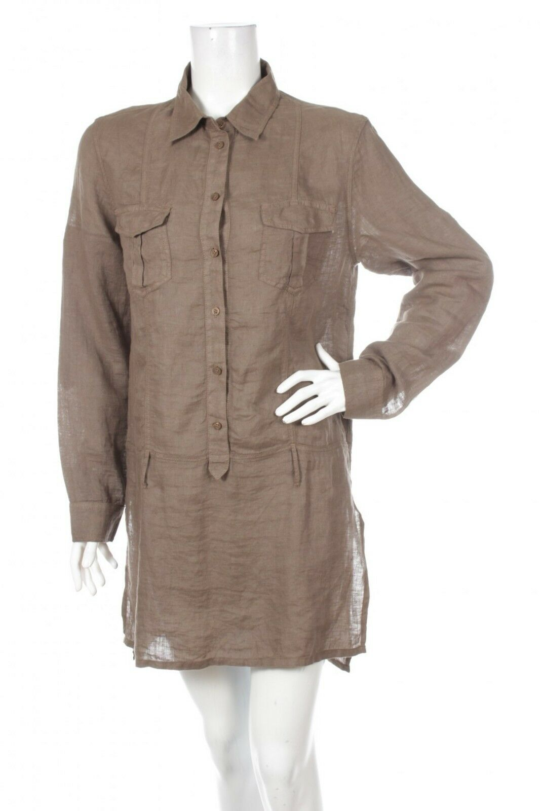 120% LINO WOMEN DRESS TUNIC SHIRT BROWN 100% LINEN SIZE 44 M L