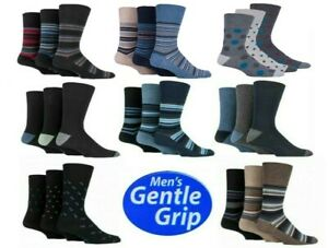 Men/'s Diabetic Cotton Rich Gentle Grip HoneyComb Top Non Elastic Socks 3 Pairs