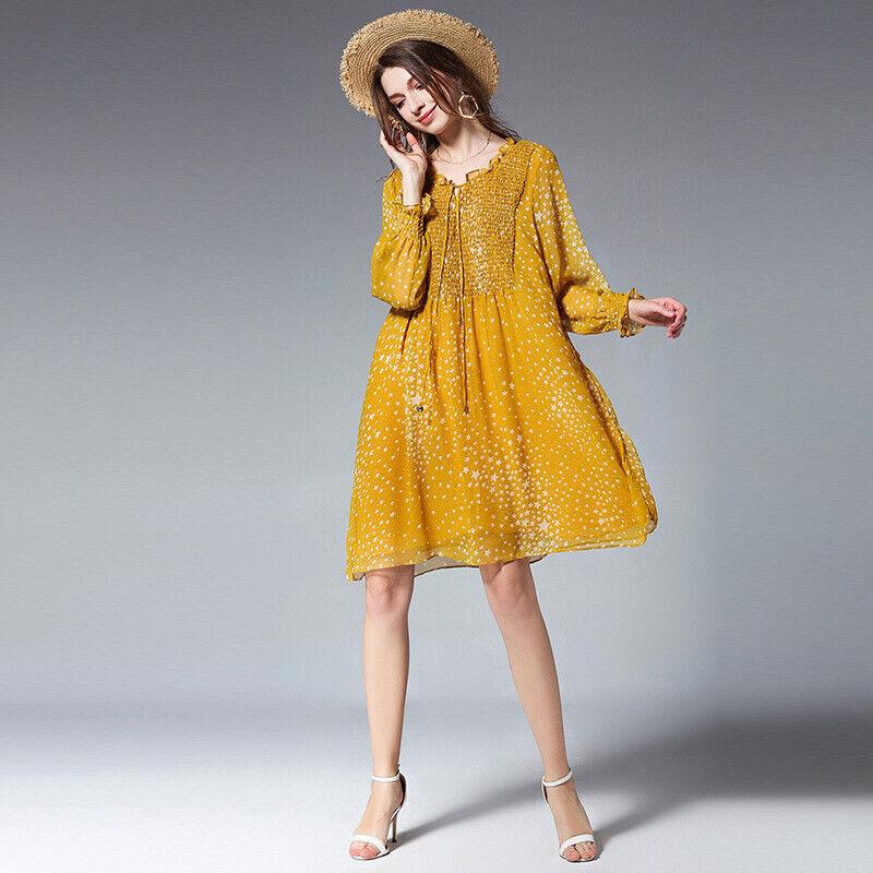 Elegante vestito abito maxi amplio giallo giallo giallo pizzo scampanato morbido 4967 68382a