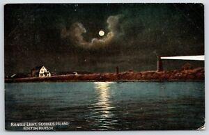 Boston-Harbor-MA-Moonlight-Georges-Island-Ranges-Light-Shines-Keeper-House-1912