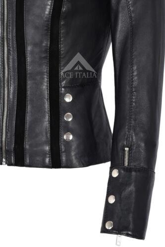 Giacca in pelle in pelle scamosciata nero moda biker stileMorbido Vera Pelle 4520
