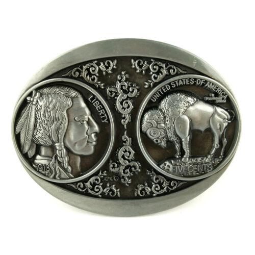 Antik Silber Western Cowboy Männer Gürtelschnalle mit 3D Büffel Muster