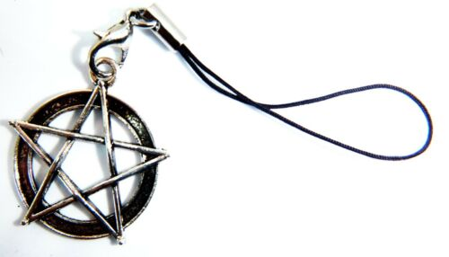 Antique Silver Pentagram Phone Charm Gift Bag Tablets Mobiles Wicca Wiccan Witch