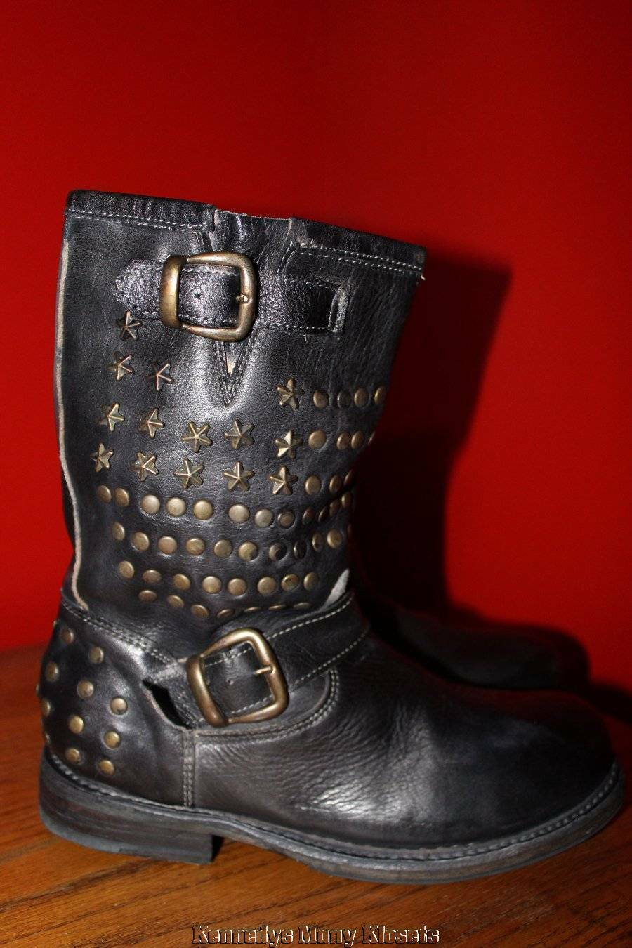Women's Bed Stu Cobbler Series Whacky Black Rustic Leather Biker Boots NIB 6.5