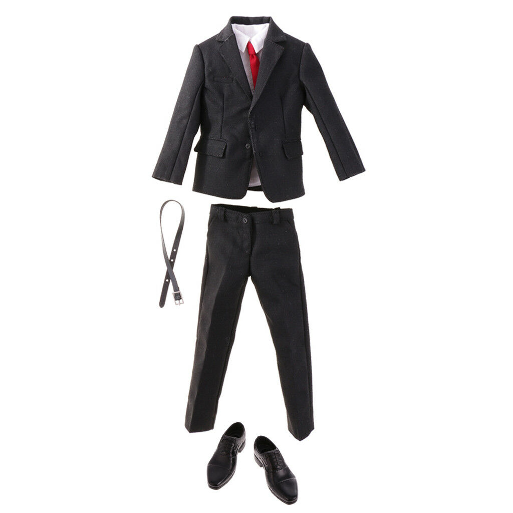 1 6 Scale Gentleman Suit Rubber schuhe Set for 12'' Enterbay Figures Male