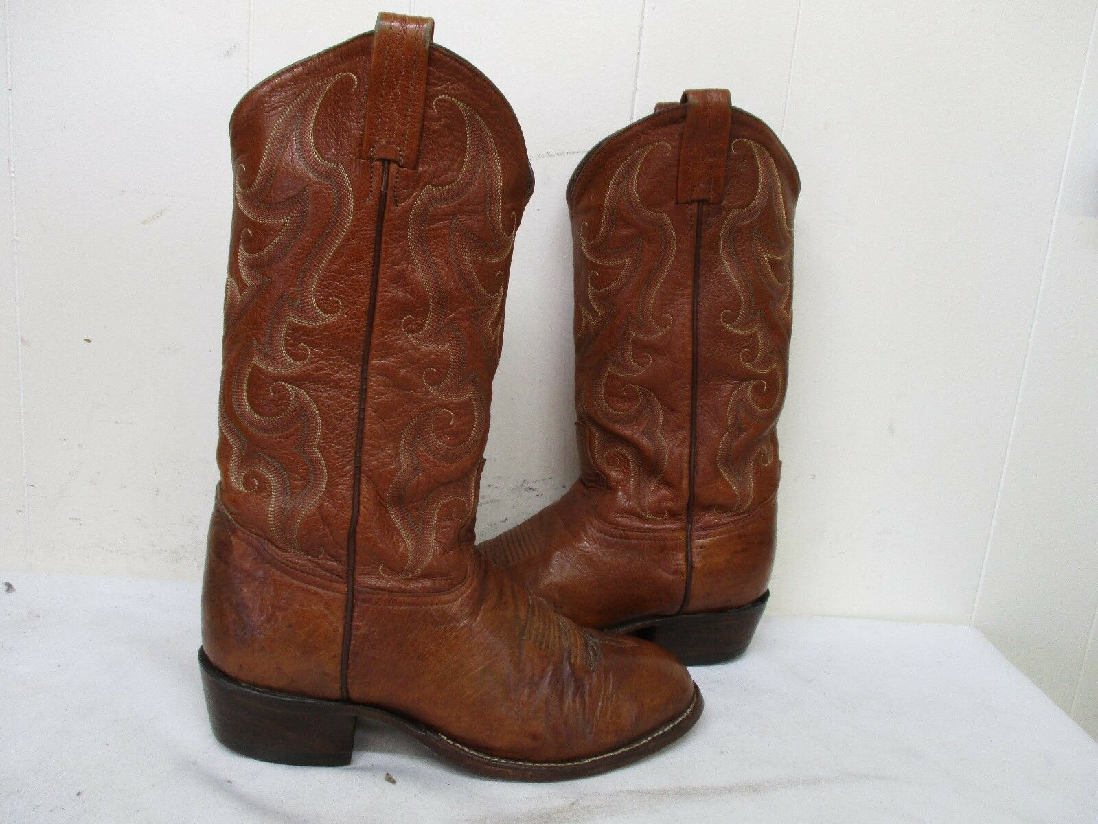 TONY LAMA Brown Ostrich Smooth Leather Cowboy Boots Mens Size 8 D Style CT559