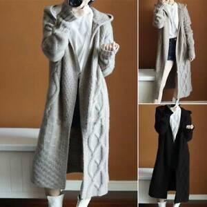 Women-039-s-Hooded-Cardigan-Coat-Jacket-Outwear-Knit-Sweater-Long-Sleeve-Jumper