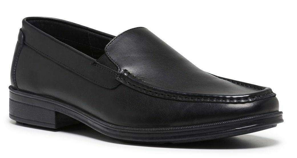 HUSH PUPPIES HARLEY MENS FORMAL DRESS WORK LEATHER SHOES BLACK COLOUR